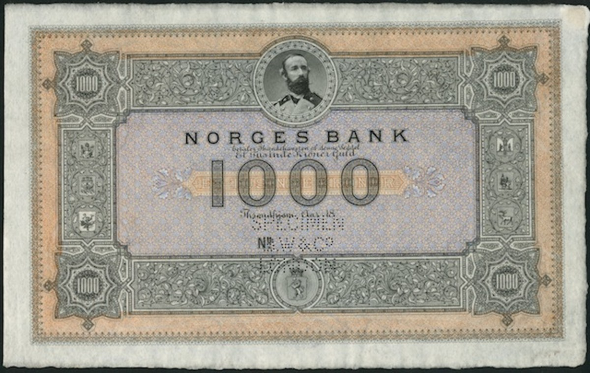 One of the rarest notes in the Norwegian series: the Norges Bank specimen 1,000 kroner, P-6s, that sold for $52,439.