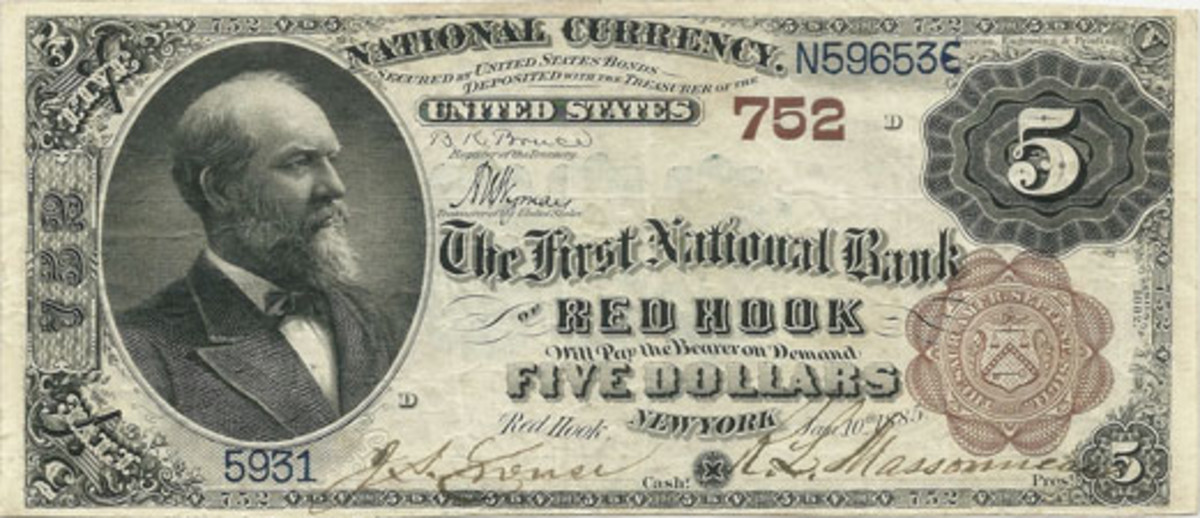 Fig. 1: This Series of 1882 $5 Brown Back from the First National Bank of Red Hook hails from the author's collection. As you can see, it sports a very distinctive and attractive central layout — including the name of the community in commanding capital letters at center.