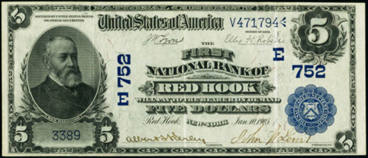 Fig. 2: Series of 1902 $5 Date Back from the Red Hook bank that is the finest currently known to exist. It features the profile of President Benjamin Harrison, 23rd President of the United States, serving the office of President from March of 1889 to March of 1893. It is from the author's collection.