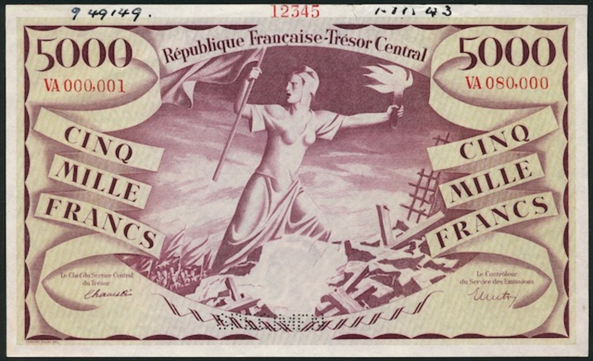The iconic World War II 5,000 francs of France Libre by Edmond Dulac, P-110s, that realized $16,547 as a specimen.