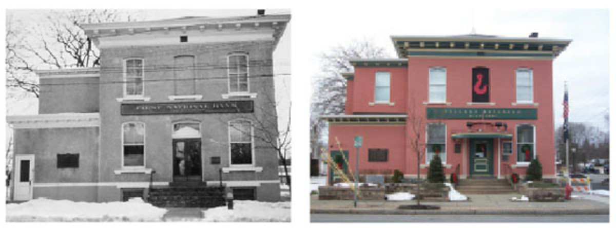 Fig. 3: This then-and-now photo comparison reveals how well the original First National Bank building has been preserved by the people of Red Hook, New York. At left is a photo dating to 1910, when the building served as the community's banking institution, and at right, the building as it appears today serving as the Red Hook Village Hall. The photos are from the author's collection or taken by the author.