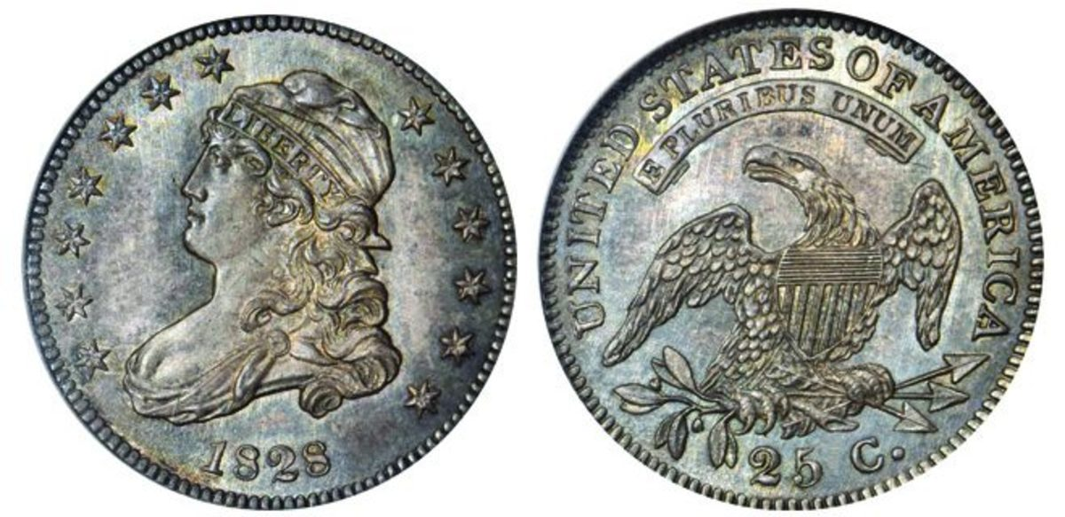 Quarter collectors will no doubt have their eye on this 1828 Capped Bust coin, the finest-known example of its kind.