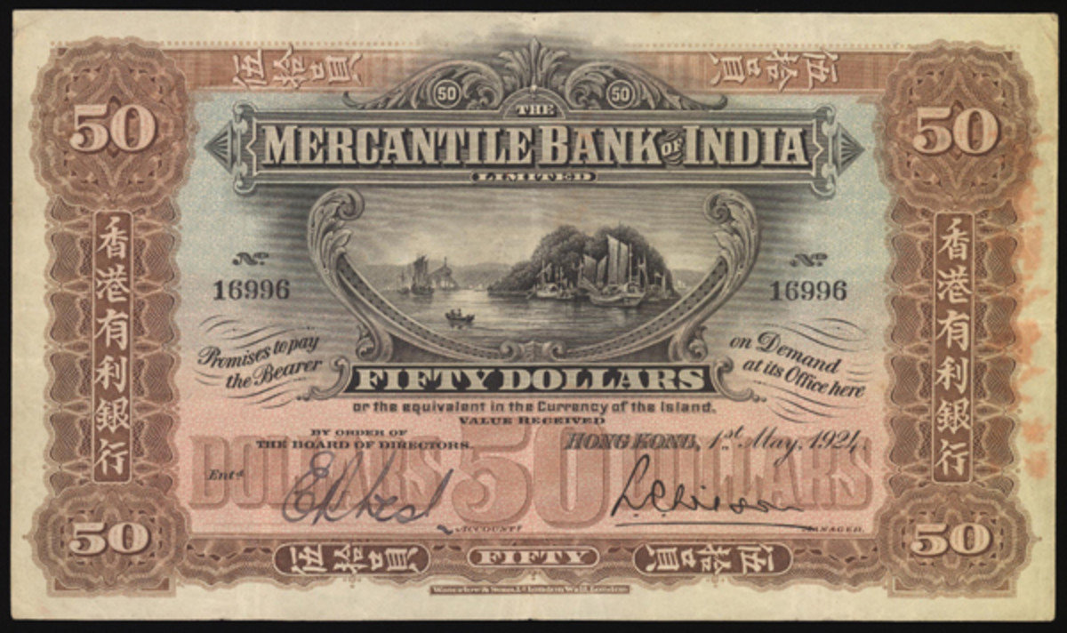 This $50 note issued by the Mercantile Bank of India rose to three times its high estimate en route to commanding $144,780 during the early April auction presented by Spink China. (Image courtesy and © Spink, London)