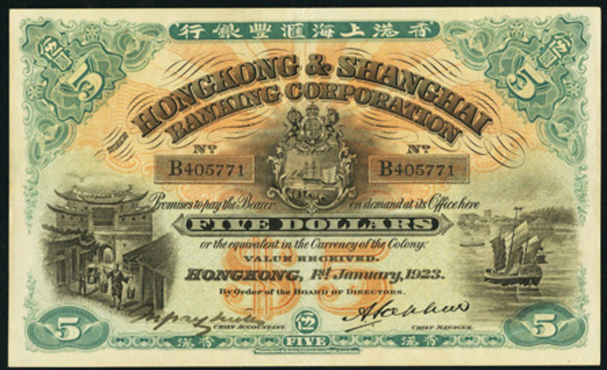 Highest-priced and historic Hong Kong and Shanghai Banking Corporation $5 of three on offer and dated 1 January 1923 (P-166). Graded PCGS Choice About New 55PPQ, it realized $40,800. (Image courtesy www.ha.com)