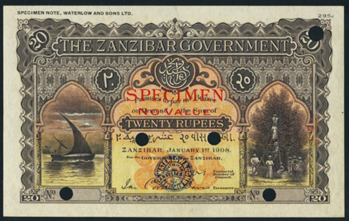Face of top-selling Zanzibar false color 20 rupees specimen of 1 January 1908 (P-4cs). In PMG Gem Uncirculated 65 EPQ, it took $108,000 to find a new home. (Image courtesy www.ha.com)