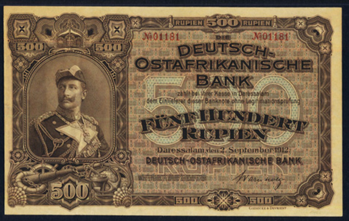 Rare Deutsch-Ostafrikanische 500 rupien of 2 September 1912 (P-5) in superior PMG About Uncirculated 53 EPQ grade that fetched a record $36,000. (Image courtesy www.ha.com)