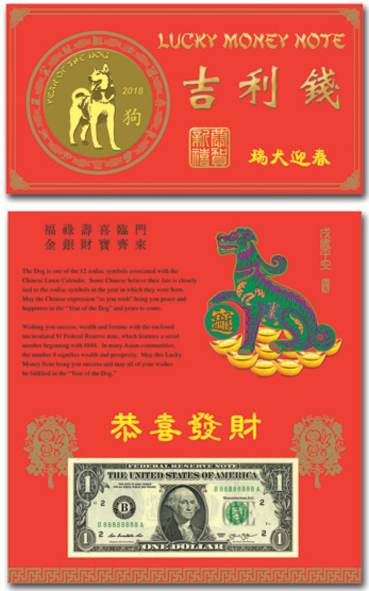 "The ""Year of the Dog is honored on this Lucky Money release from the BEP."