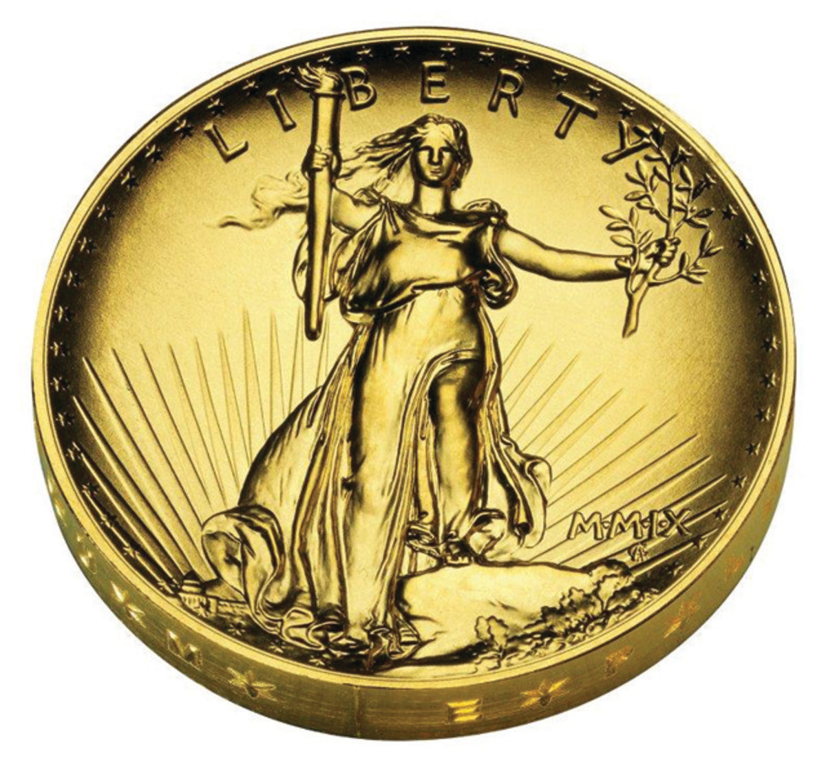 Obverse of the 2009 Ultra High Relief gold coin