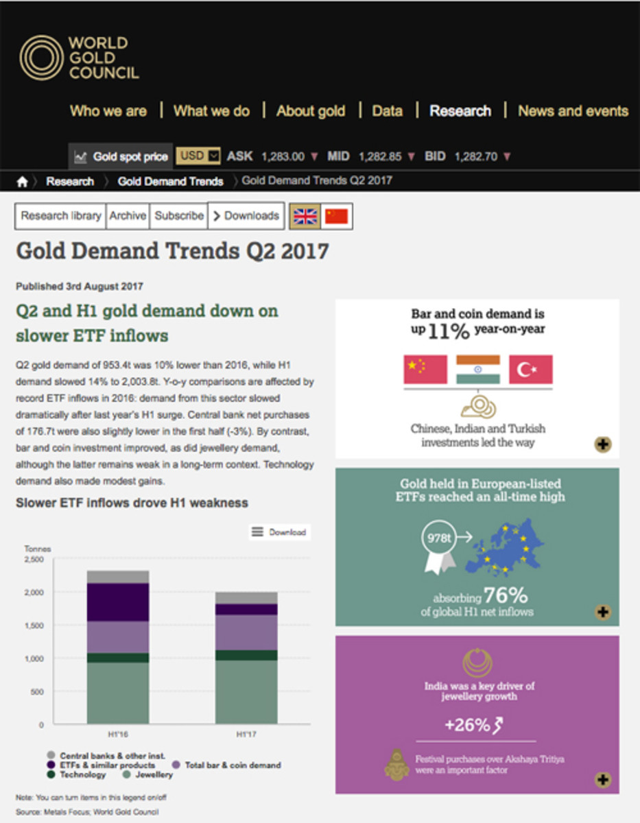The World Gold Council's 2nd Quarter 2017 Gold Demand Trends are available online at the organization's website (see link in text below).
