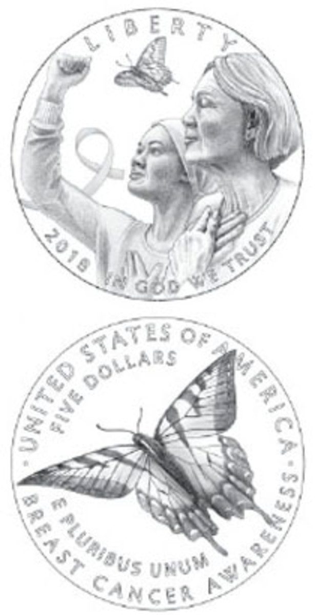 The three 2018 Breast Cancer Awareness commemoratives will share same designs. Denominations will change on the common reverse.