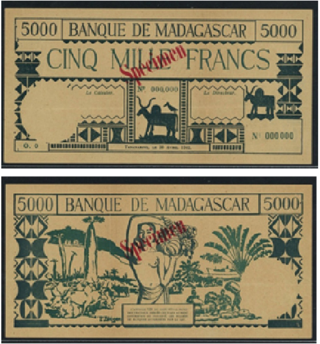 Extremely rare WWII Banque de Madagascar 5000 francs specimen of April 1942 (P-44; S&B-612s) that realized $25,180 in PCGS 35 Very Fine at Spink's October sale of the Ibrahim Salem Collection. (Image courtesy and © Spink, London)
