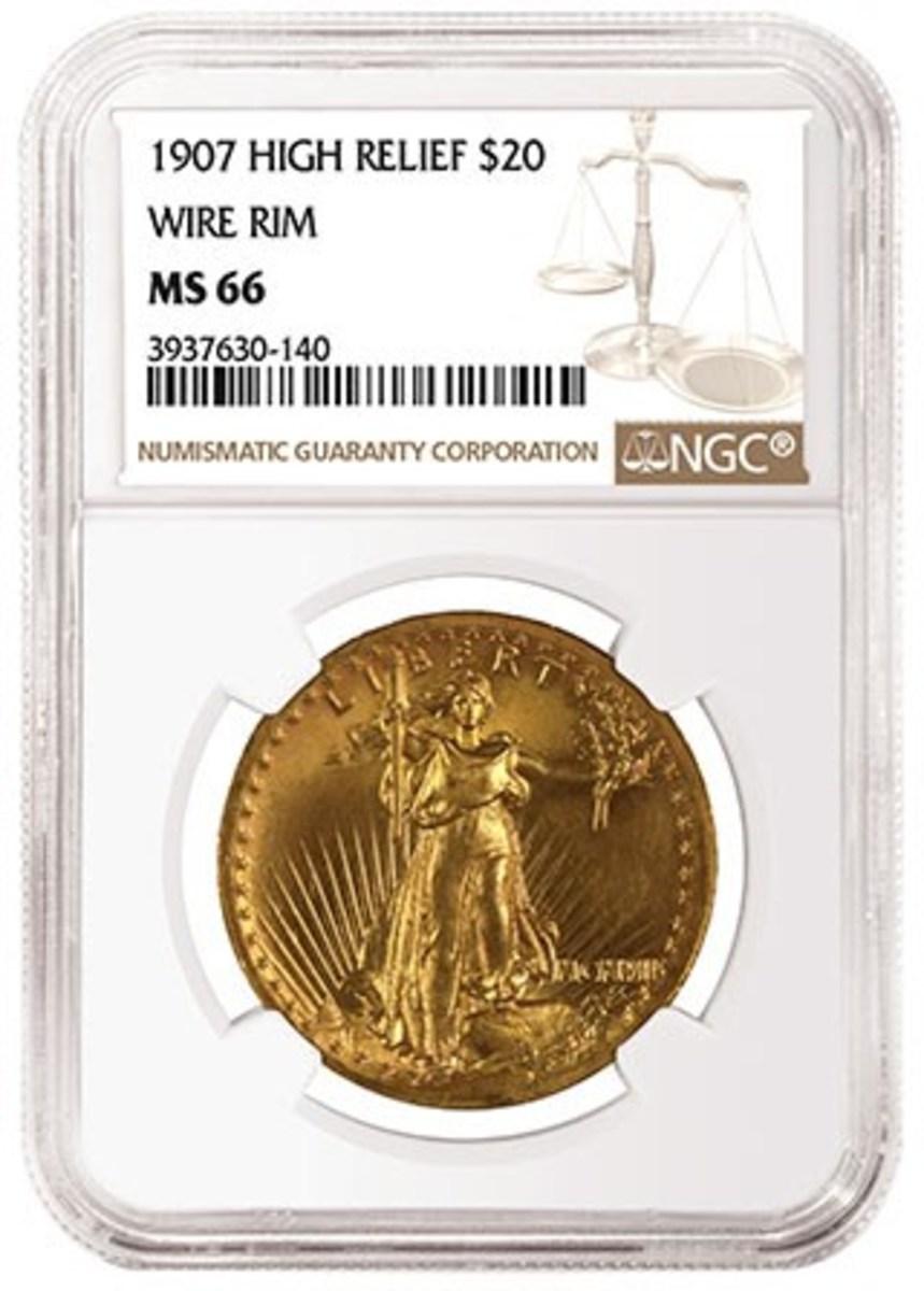 1907 Wire Rim $20, graded NGC MS 66