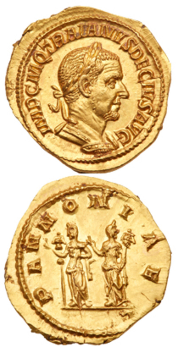 A mint state gold aureus of Emperor Trajan Decius fetched $15,000 at Goldbergs' pre-Long Beach sale. (Images courtesy Goldberg)