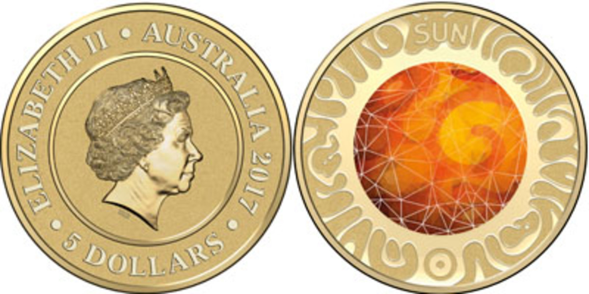 Common obverse (top left) and reverses (top right and below) of Australia's new coin series celebrating the planets of our solar system – and its sun. (Images courtesy & © Royal Australian Mint)