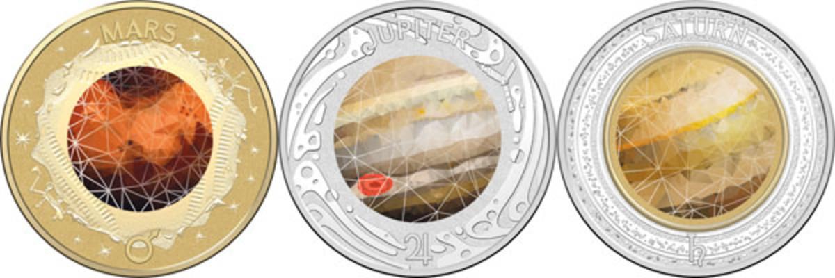 Mars, Jupiter, and Saturn (Images courtesy & © Royal Australian Mint)