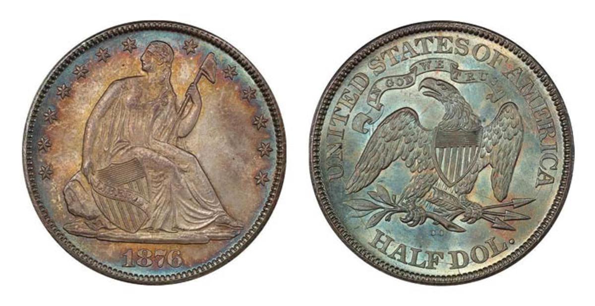 Lot 279: 50C 1876-CC PCGS MS66+ CAC. Sale estimate $26,000-$30,000. (Image courtesy of Legend Rare Coin Auctions)