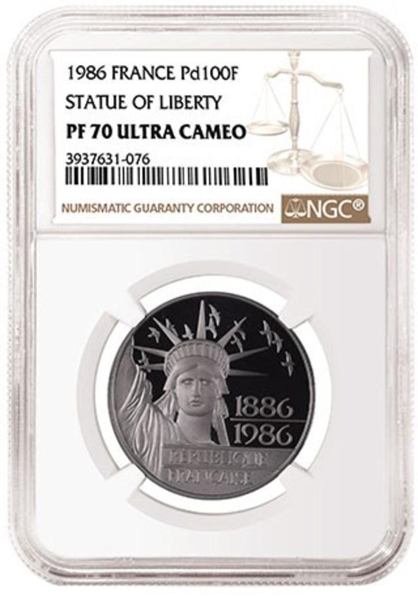 1986 France Statue of Liberty Centennial Palladium 100 Francs, graded NGC PF 70 Ultra Cameo.