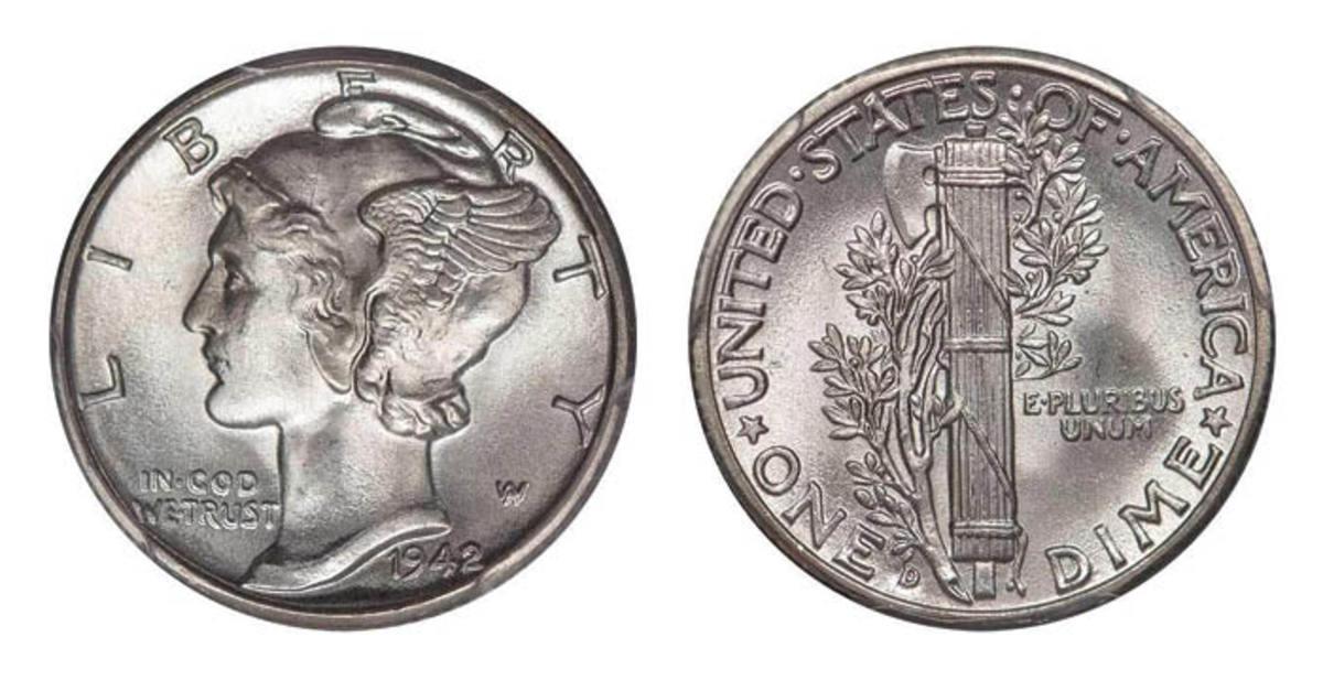 Lot 228: 10C 1942/1-D PCGS MS65FB CAC.  Sale estimate $25,000-$28,000. (Image courtesy of Legend Rare Coin Auctions)