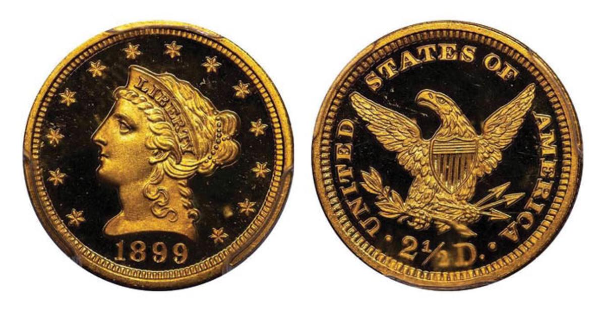 Lot 436: $2.50 1899 PCGS PR66+ DCAM CAC. Sale estimate is $32,000-$35,000. (Image courtesy of Legend Rare Coin Auctions)