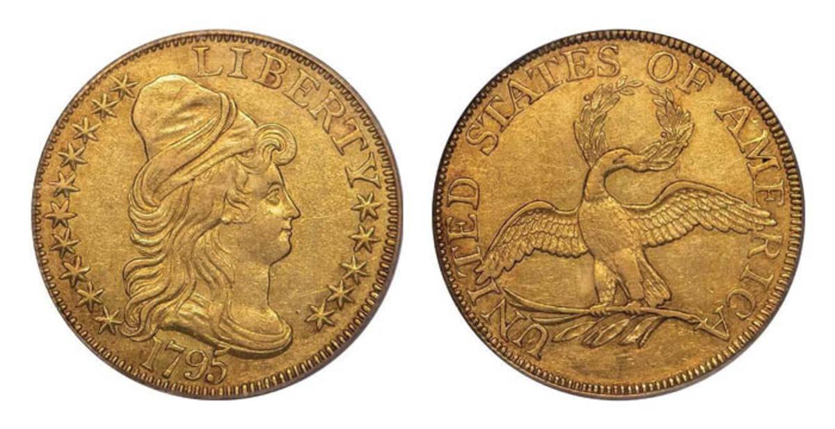 Lot 443: $5 1795 Small Eagle OCGS AU55 CAC. Sale Estimate is $70.000-$80.000. (Image courtesy of Legend Rare Coin Auctions)