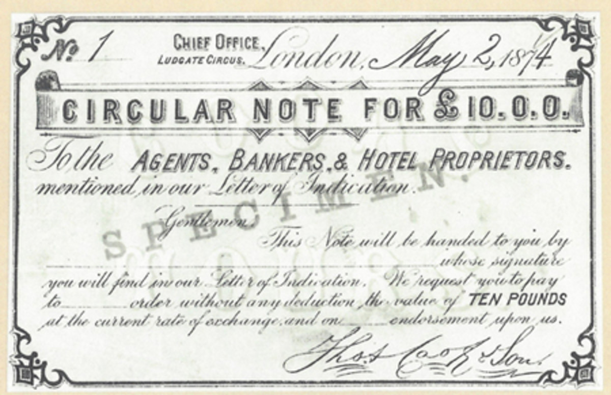 This is an image of the 10-pound Circular Note of 1874 that the English claim to fame is based upon.