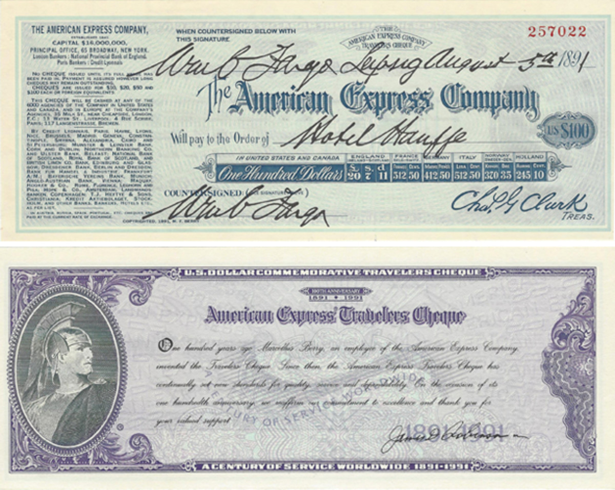 The 1891-1991 replica AmEx centennial check shown here was made in paper and silver.