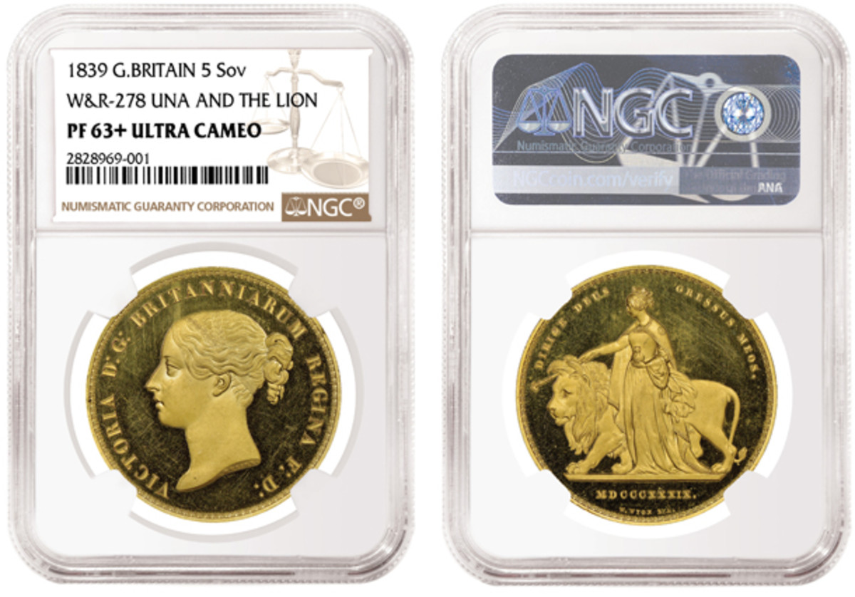 Highlighting the 1839 rare proof set recently certified by NGC is this Una and the Lion gold five sovereign gradedPF63+ Ultra Cameo.