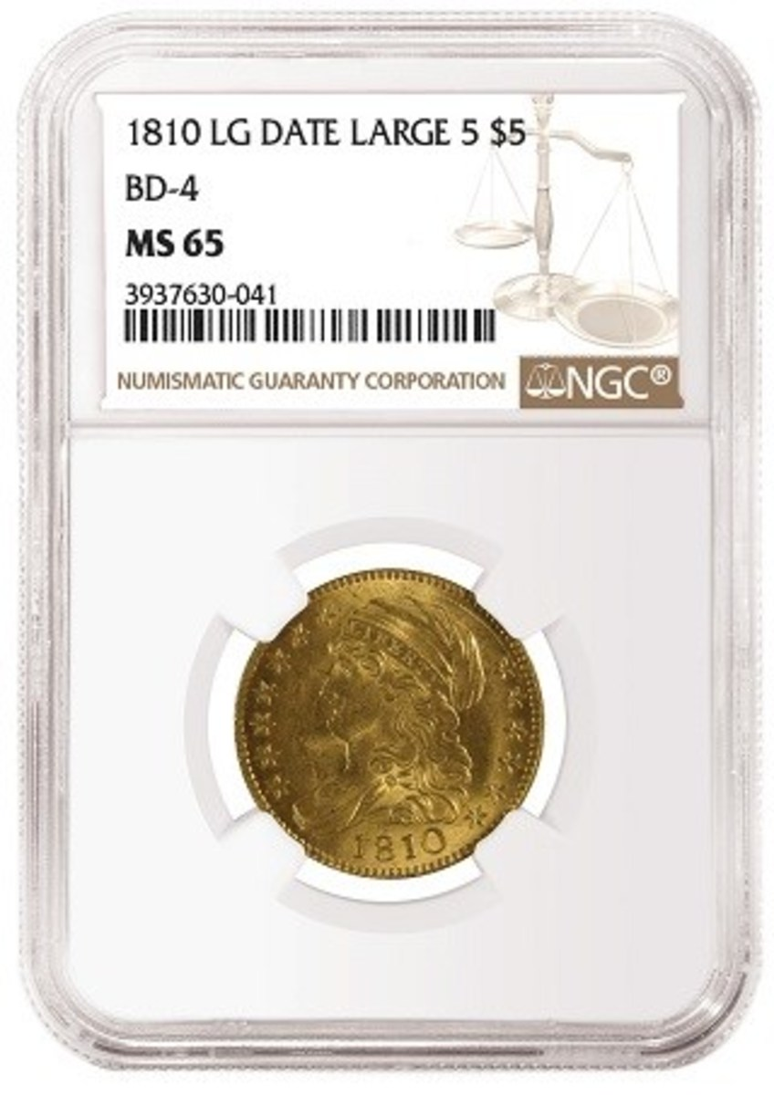 1810 Large Date, Large 5 $5, graded NGC MS 65. .
