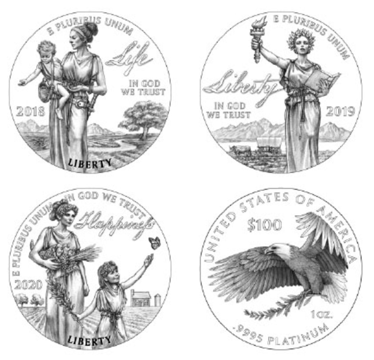 The next three platinum proofs will show the allegorical figure of Liberty demonstrating Life, Liberty and Happiness.