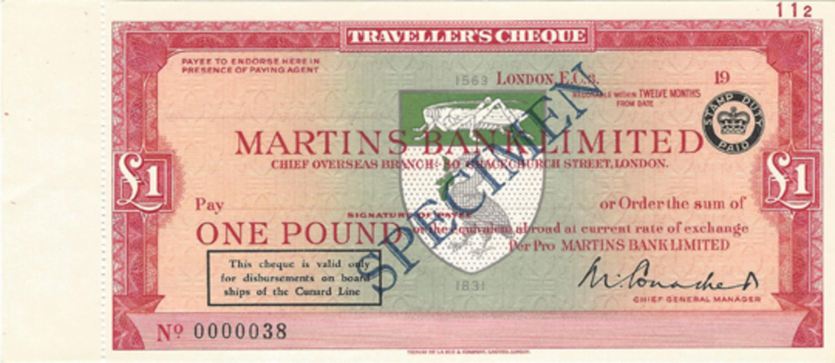 Traveler's checks for small amounts were not generally made. An exception is seen in this Martins Bank one pound issue that was valid only on board ships of the Cunard Line. Printer was TDLR.