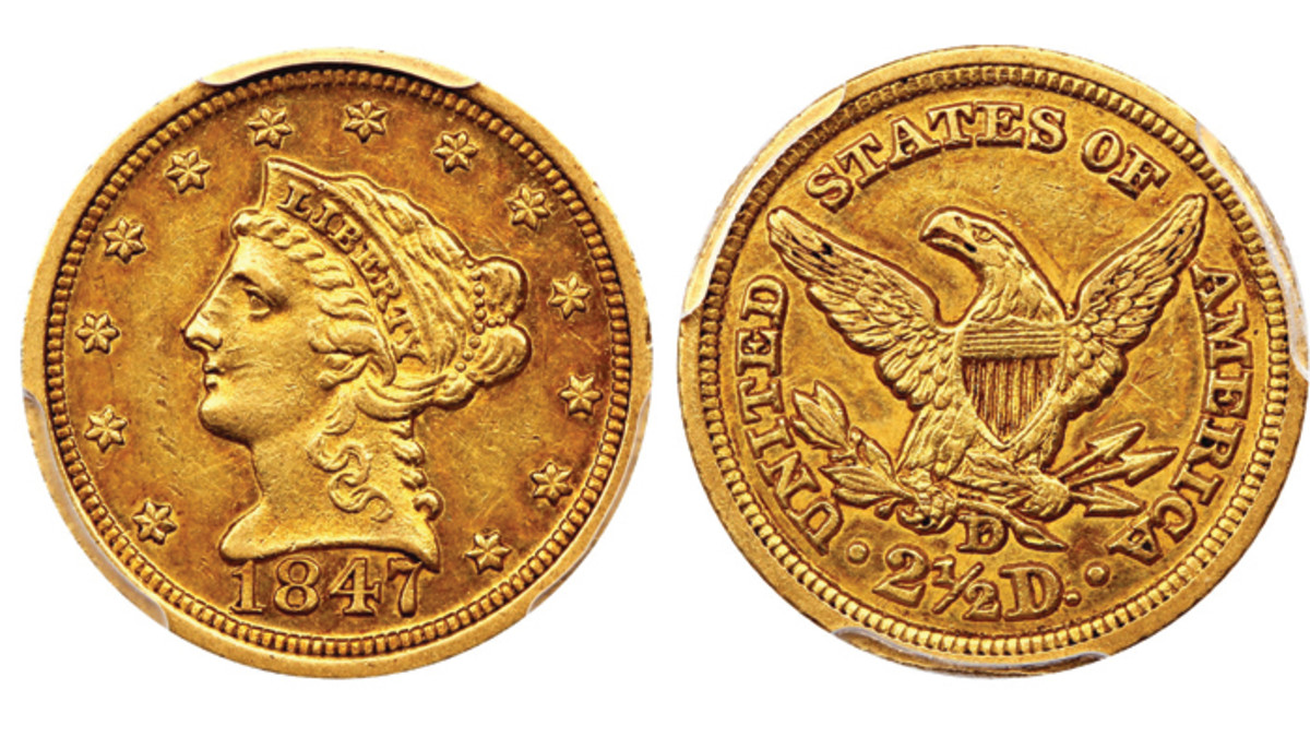 Lot 2397, the 1847-D $2 ½ graded CAC AU55 by PCGS that realized $3,950 at the Oct. 20 auction.