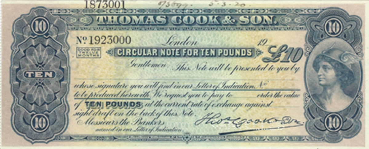 For some reason Thomas Cook found it necessary to issue both traveler's checks and circular notes during the same years. This smaller format piece was used in 1920. Printer was BW.