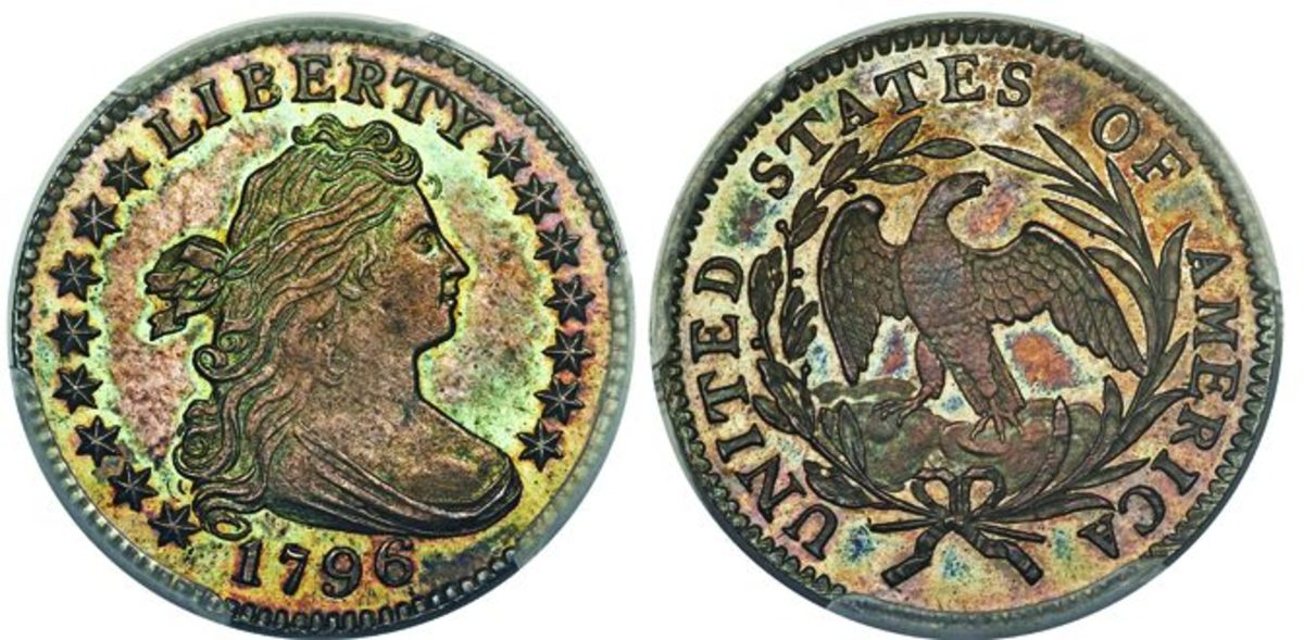 This 1796 JR dime, PCGS-graded SP-67, crossed the auction block at $750,000.