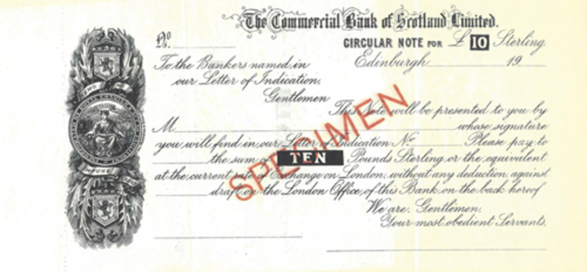 A Scottish bank used this form of Circular Note to go along with the Letter of Indication. The signature line is prominently shown. Printer is not given.