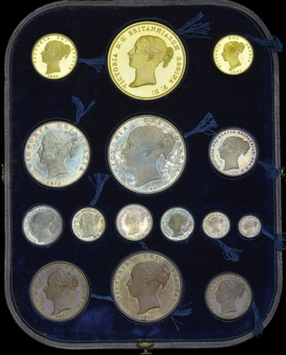 The 1839, 15-coin, British proof set in case of issue to be offered for sale by Dix Noonan Webb in September. (Image courtesy DNW)