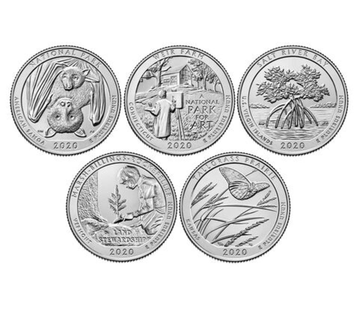 The 2020 America the Beautiful circulating set is the program's final five-coin set. (Images courtesy U.S. Mint.)