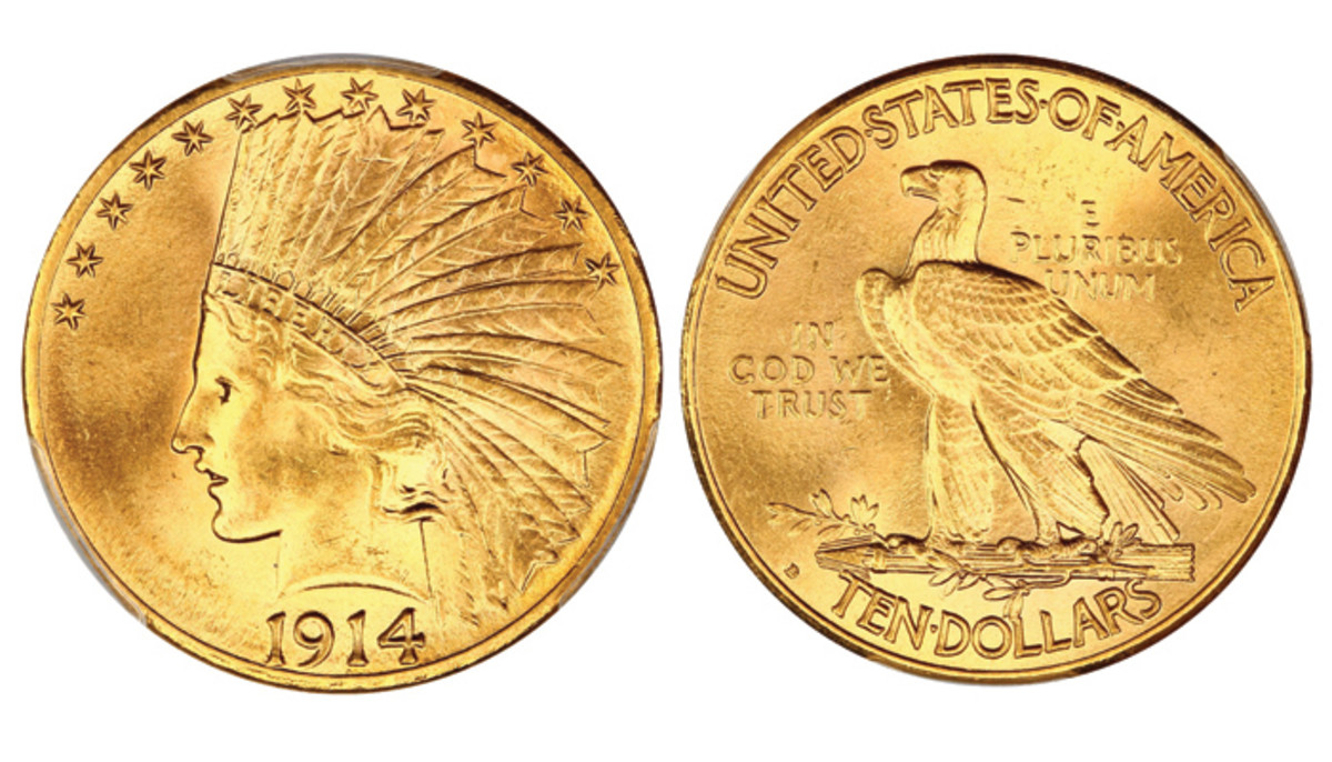 Lot 2434, the 1914-D $10 graded CAC MS64 by PCGS that realized $3,750 at the Oct. 20