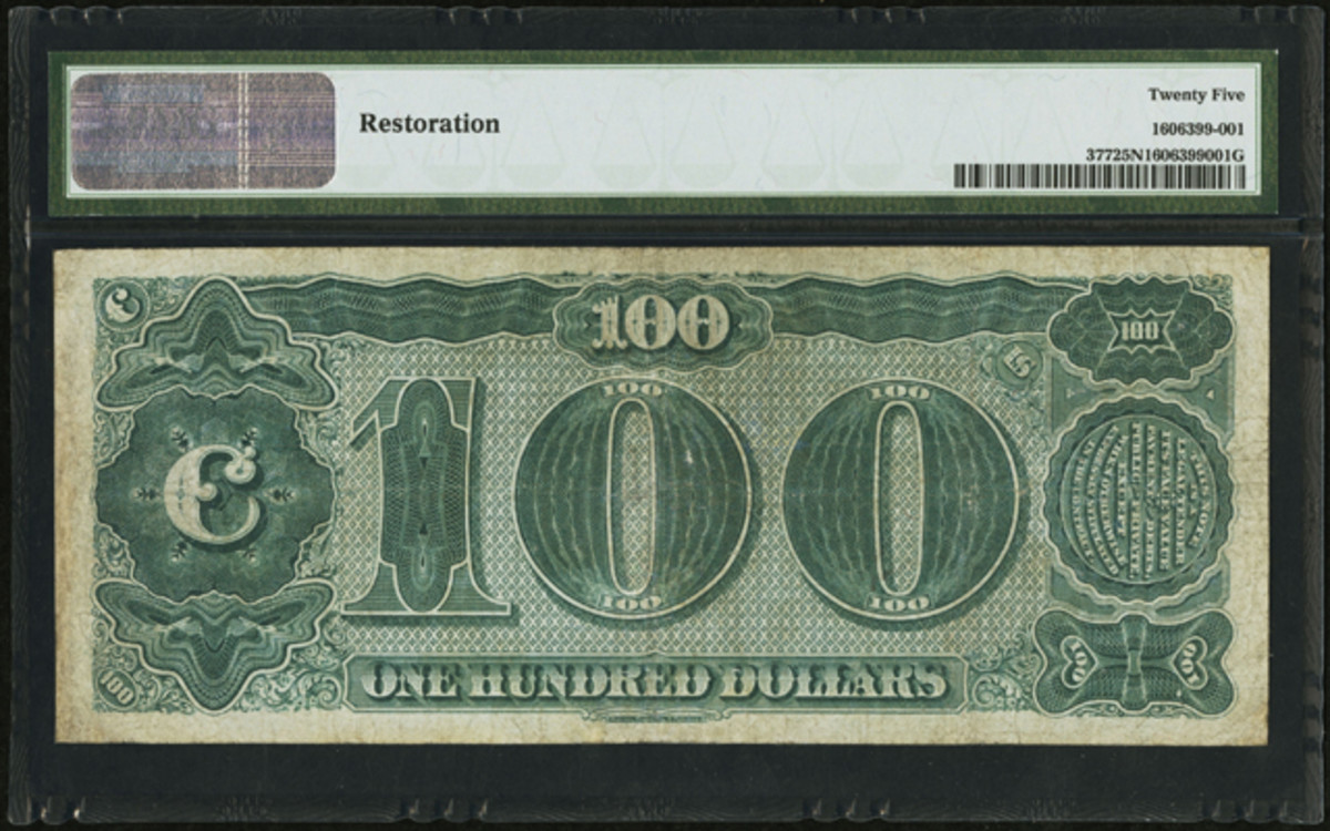 "Reverse of the $100 ""Watermelon"" note. Note the iconic ""0's"" that give the note its nickname."