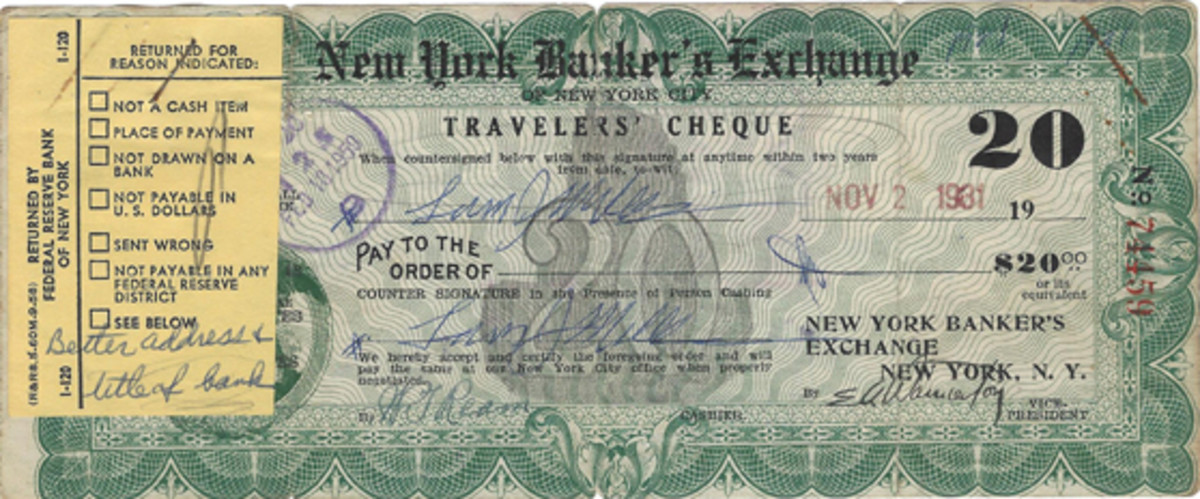 "This lithographed item has some strange characteristics. It was issued by some entity called the New York Banker's Exchange during the Great Depression in 1931. Obviously it failed to go through the system for the reason stated on the rejection slip—""Better address & title of bank."" Very possibly the whole thing was a scam."