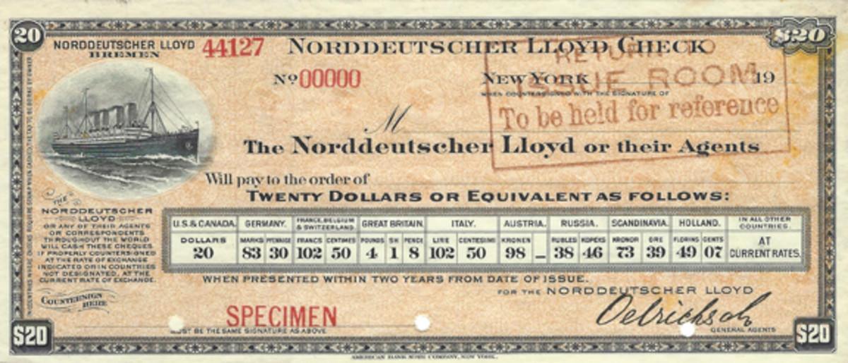 A lovely set of German traveler's checks with a ship vignette and exchange rates was used in the earlier 20th century. Printer was ABN.
