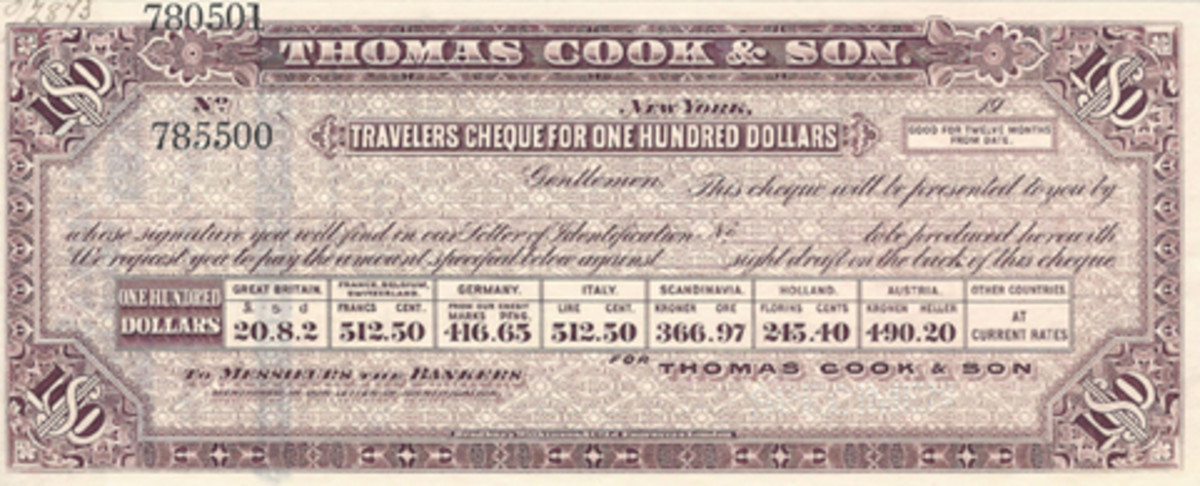 A Thomas Cook traveler's check with exchange rates was used before World War I. Printer was once again BW.