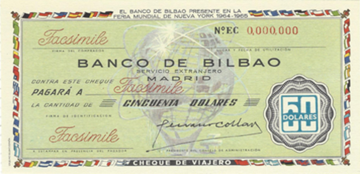 Spain's Banco de Bilbao also issued a commemorative traveler's check for $50 in honor of the New York World's Fair of 1964-65.