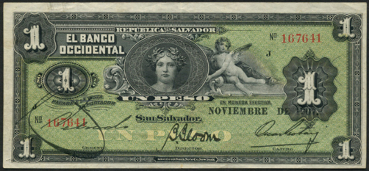 This Series J one peso of El Banco Occidental of November 1907 comes in black on a green underprint unlisted in SCWPM or Stickney-Almanzar. It has been recorded only as a proof and in a different color; never as an issued note. Estimate is a modest $800-1,200. (Image courtesy and © Spink, London)