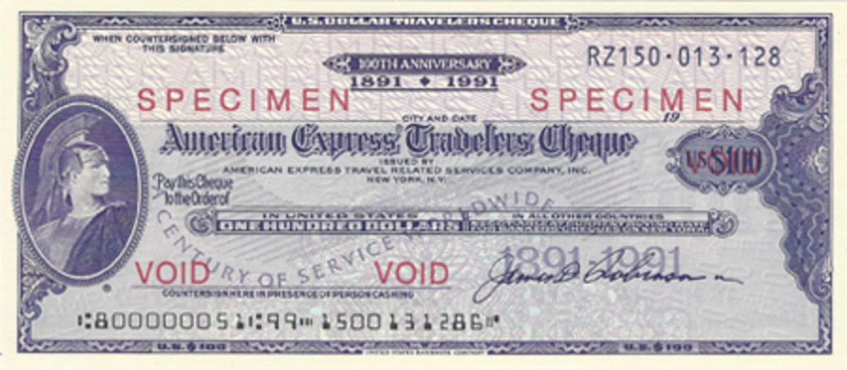 All American Express traveler's checks issued only in 1991 used this general centennial commemorative format.