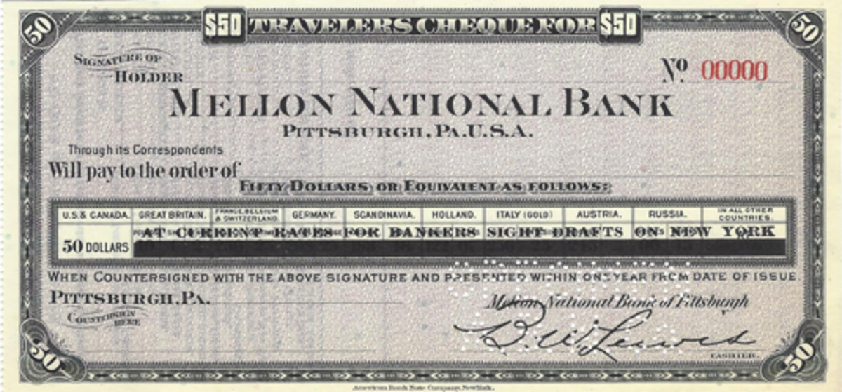 "This $50 check from the Mellon National Bank is a graphic portrayal of what occurred with such pieces after World War I. All the exchange rates are lined out and the text line ""At Current Rates for Bankers Sight Drafts on New York"" overprinted."