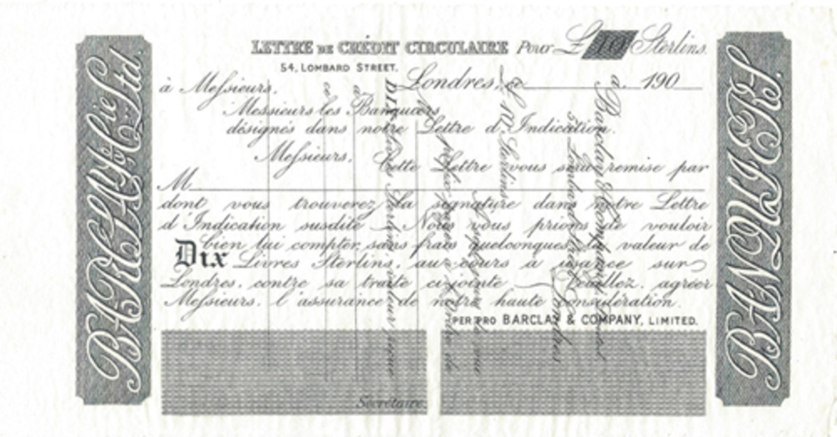 This fully margined and unissued Circular Letter of Credit (in French) for 10 pounds sterling mentions the Letter of Indication and the signature requirements. The example shown is an error with text from the back having been printed vertically on the face as illustrated.