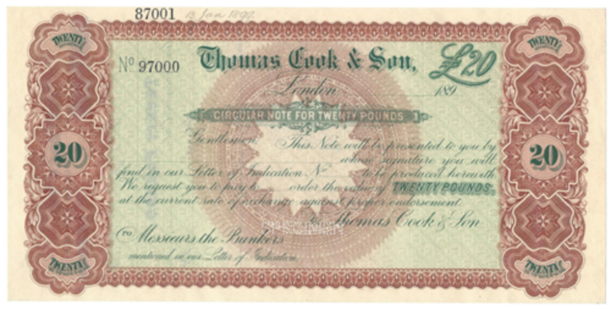 A large format Circular Note was used in the 1890s by Thomas Cook and Son in London. Printer is not shown.