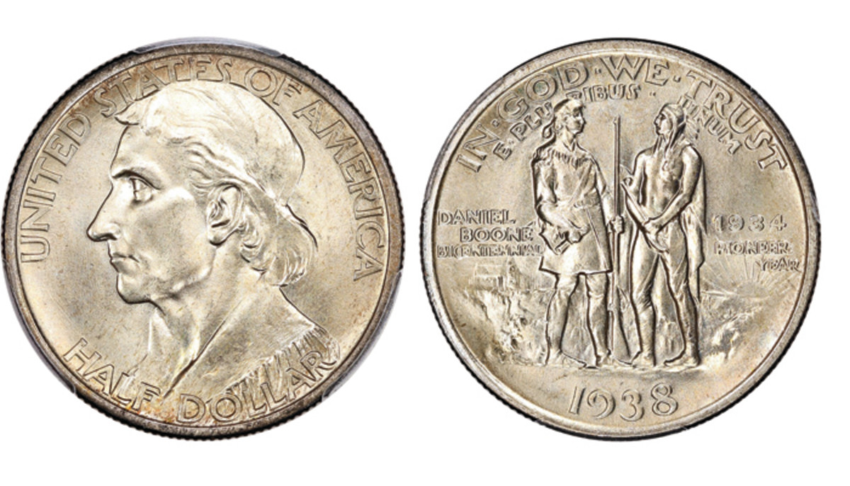 Shown here is Lot 2456, the 1938 Boone Half dollar from the Silver Commemoratives series with reeded edge graded CAC MS67+ by PCGS that realized $4,000 at the Oct. 20 auction.