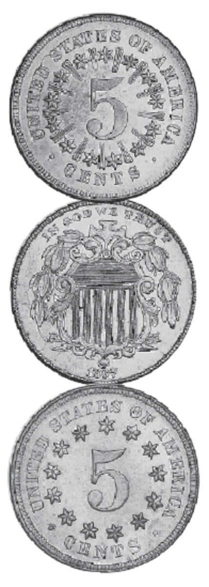 The 1867 shield nickel (obverse at center) has two reverse designs: the earlier with rays (top) and the later without rays (bottom). The lower mintage of the former makes it the better date.