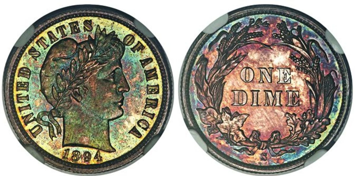 This 1894-S Barber dime passed the million dollar threshold when it crossed the auction block at $1,500,000. (All images couretsy Heritage Auctions, www.HA.com.)